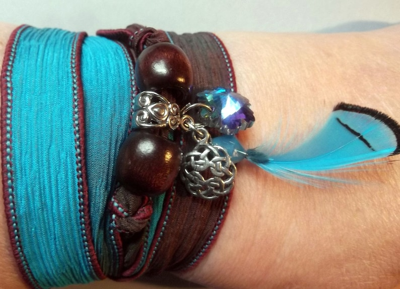 Lovely Silk Ribbon Wrap Bracelet With Charms image 0