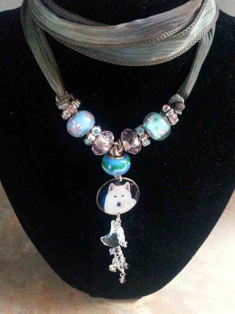 Beautiful White Wolf Silk Bracelet/Necklace/European Beads image 0