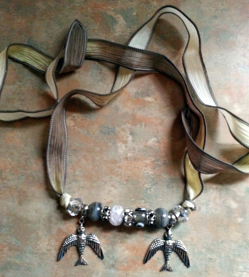 Beautiful Birds/Necklace/Bracelet/Silk Wrap image 0
