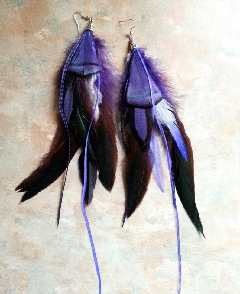 Purple Passion Feather Earrings/Boho/Hippie/Gypsy image 0