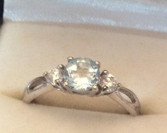 Friendship Engagement Wedding Free Postage. Birthday Promise Authentic Vintage BLUE TOPAZ Gemstone Sterling SILVER 925 Art Deco Ring