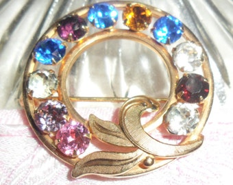 Authentic  Vintage Van Dell 12K Gold Filled Multi Color Rhinestone Circle Pin Brooch