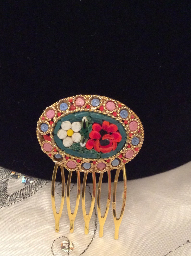 Wedding Birthday Free Postage. Prom Bridesmaid Bride Authentic Vintage ONE Of A KIND Large Stunning Large MicroMosaic Hair Comb