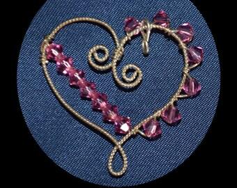 Argentium Silver Heart Pendant with Pink Swarvoski Crystals