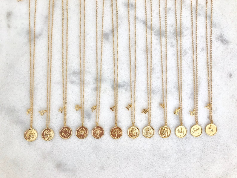Gold Zodiac Coin Charm Necklace