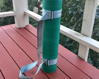 Vegan Yoga Mat Strap - Light Blue Seatbelt Webbing - vegan gift idea