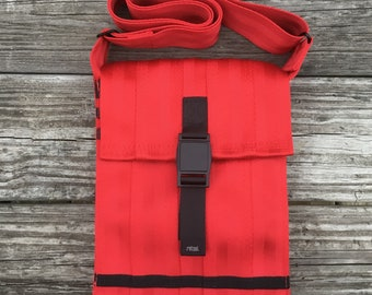 Small Red Vegan Seatbelt Bag with Magnetic Closure