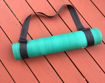 Vegan yoga mat strap made out of seatbelt webbing / vegan gift idea