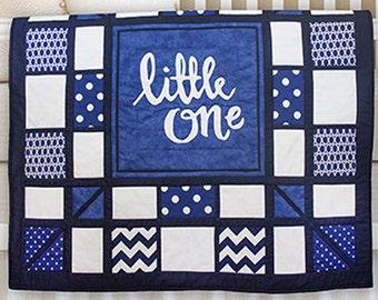 "Applique Baby Quilt PDF Pattern, ""little one"" Lettering - Instant Download"