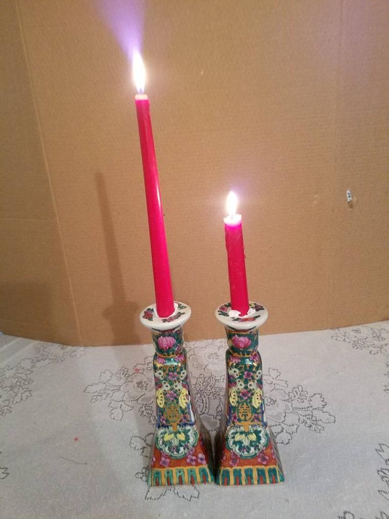 2 Rose Medallion candlesticks holders   11820