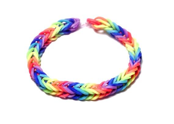 Items similar to Fishtail Rainbow Loom Bracelet, Rainbow ...