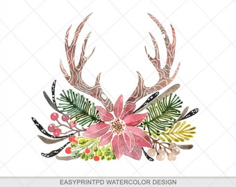 Rustic Antlers Christmas Clipart Watercolor Clip Art Winter Digital Holiday