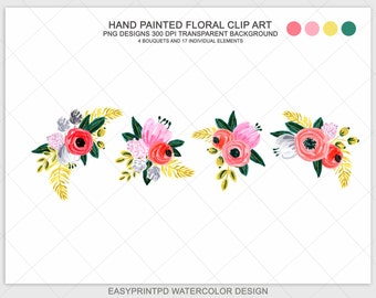 Hand Painted Flower Clip Art Watercolor Flowers Floral Digital Rustic Valntine Spring