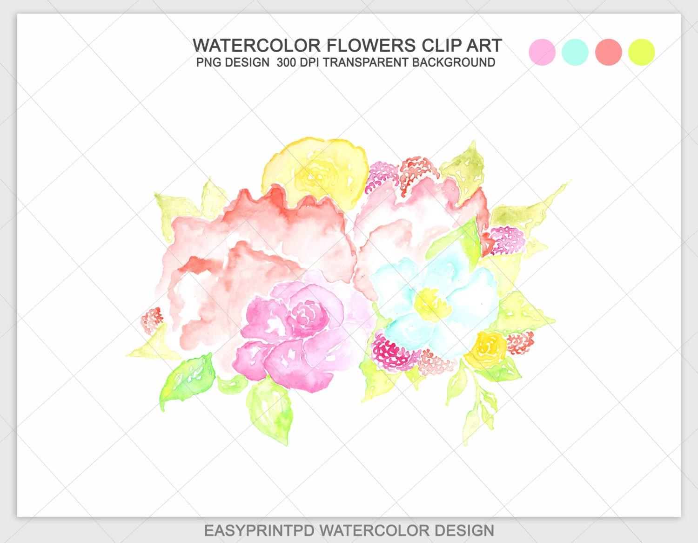 Watercolor Pink Multicolor Flowers Clip Art Floral Clipart Etsy
