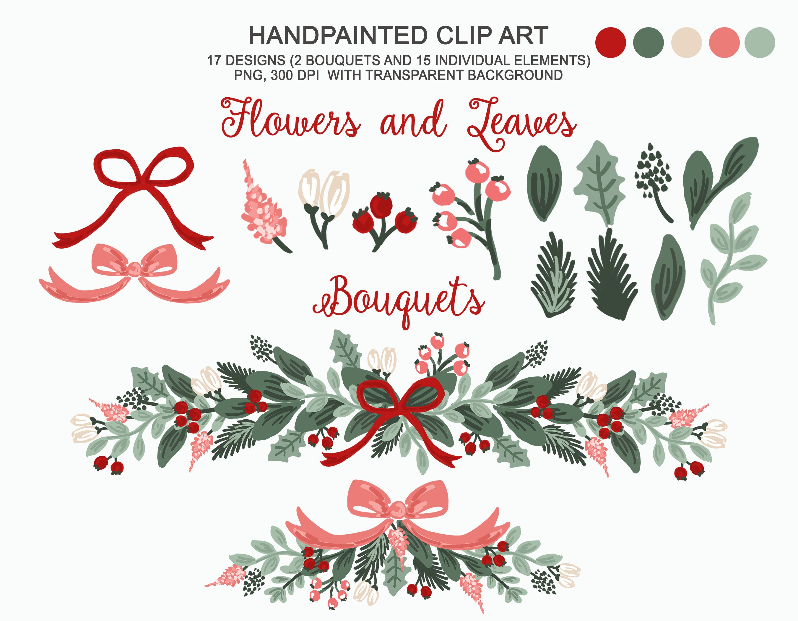 Botanical Christmas Winter Clip Art Personal And