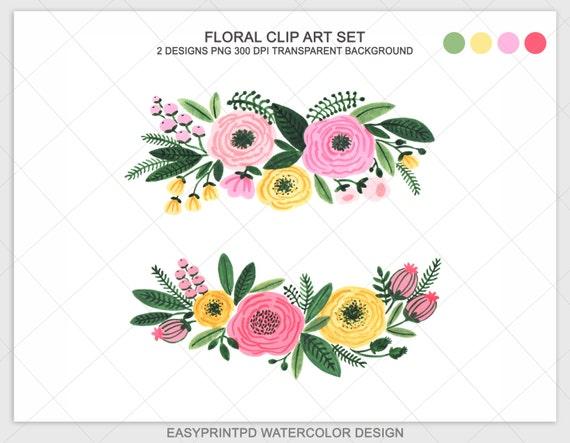 Watercolor Floral Clipart Flowers Clip