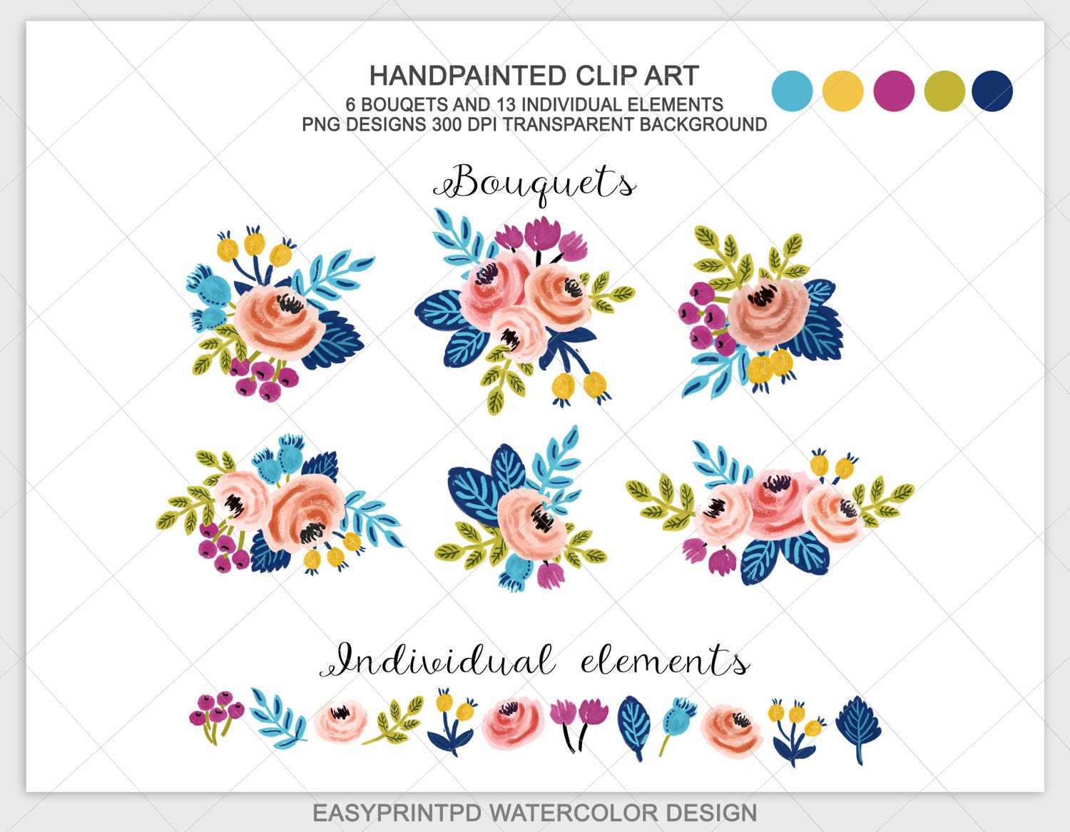 Spring Wedding Floral Clipart Watercolor Flower Designs Etsy