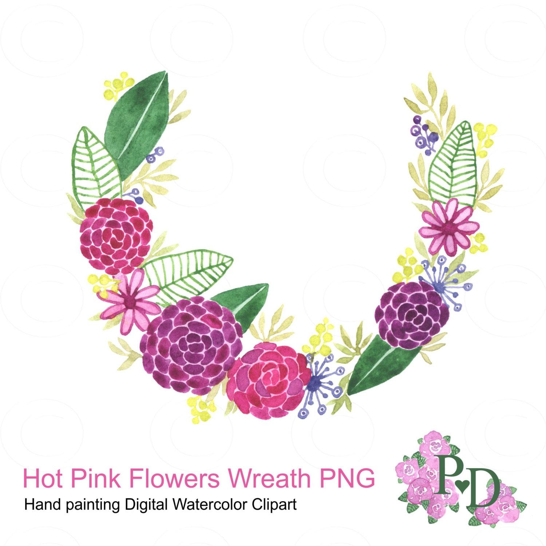 Hot Pink Flowers Wreath Clipart Watercolor Clip Art Digital Etsy