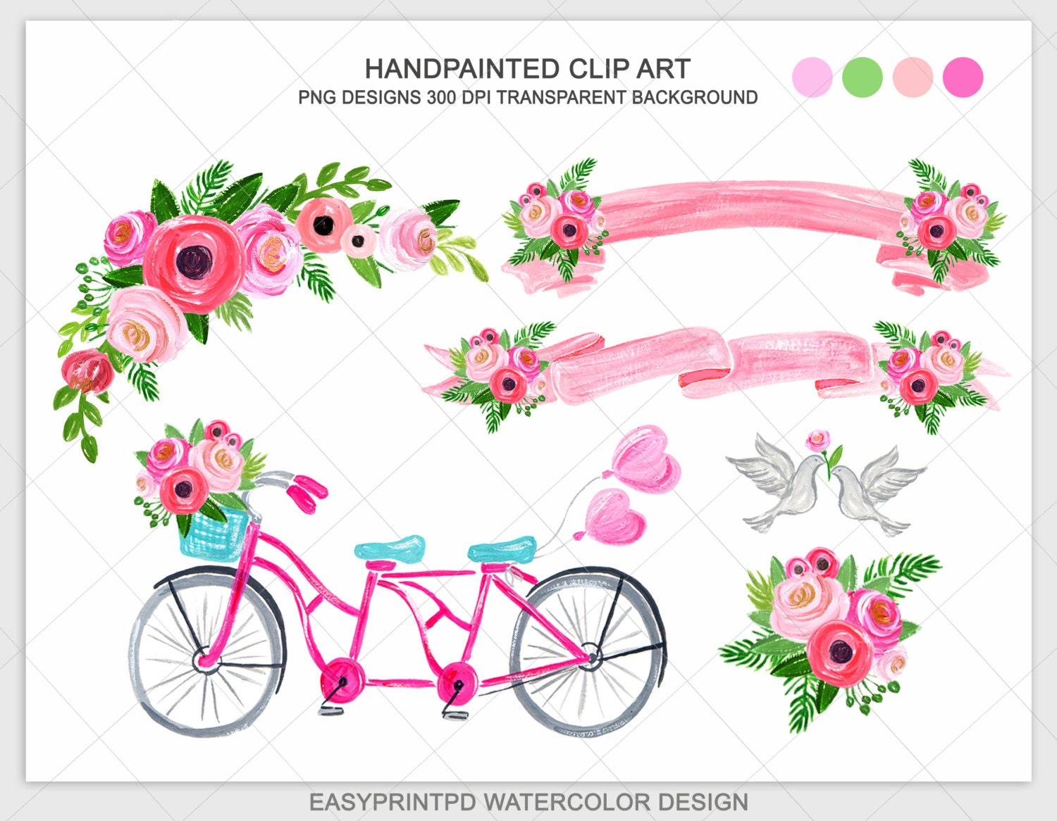Wedding Bicycle Clipart Blush Pink Hand Painted Flower Clip | Etsy