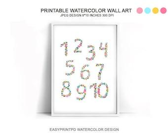 Watercolor Numbers Poster, Nursery Art, Number Poster, Wall Art, Kids Wall Art, Nursery Print, Nursery Wall Art, Printable Poster, Nursery