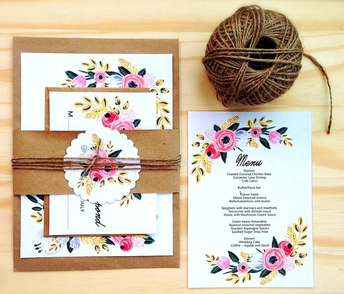 Printable Wedding Invitation Sets: Printable Wedding Invitation Set Digital DIY Wedding