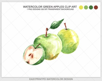 Green Apple Watercolor Clip Art, Digital Watercolor Food Art, Apples Clipart, Watercolor Clip Art, Green Food Illustration, Food Graphic