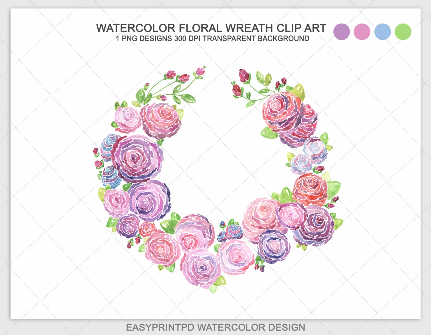 Watercolor Floral Wreath Clip Art Pink And Purple Wedding Etsy