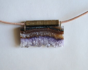 Amethyst geode slice, vintage brass and leather necklace