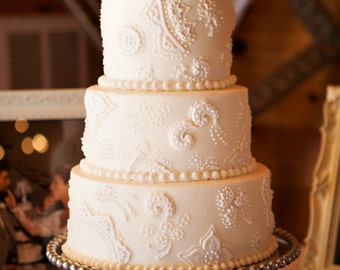 Custom Monogram or Initials Silver Wedding Cake Topper