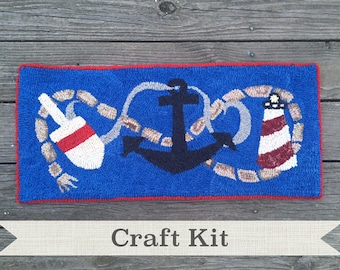 "DIY KIT - Ocean Story Complete 12 x 24"" Primitive Rug Hooking Kit on Your Choice of Fabric - Free Shipping in USA"