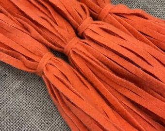 All Orange - 100 #6 or #8 Sized Primitive Hand Cut Wool Strips for Rug Hooking