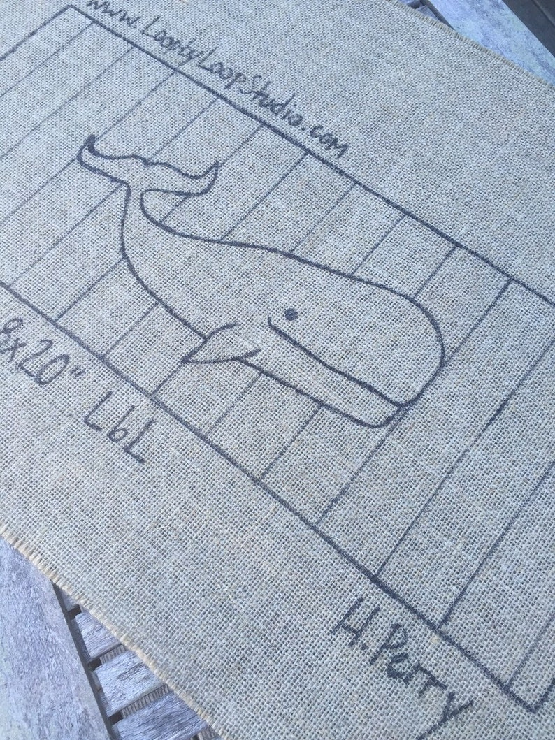 Original Hand Drawn 8 x 20 inch Rug Hooking Pattern on Your Choice of Foundation Stripey Whale
