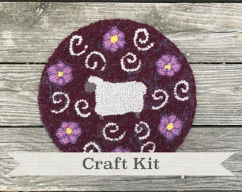 "DIY KIT - Sheep & Flowers by Guest Designer Sharon Perry Complete 14"" Primitive Rug Hooking Kit - Free Shipping in USA"