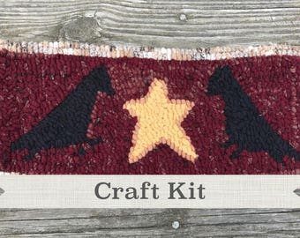 "Free Shipping in USA - DIY KIT -Crow & Stars by Guest Designer Sharon Perry Complete 6 x 12"" Primitive Beginner Rug Hooking Kit"