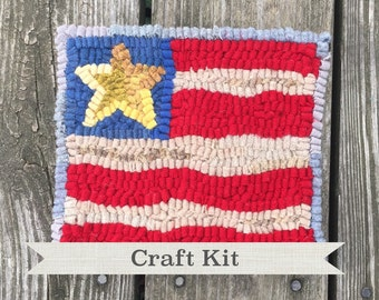 Free Shipping DIY KIT - Patriotic Flag Complete 7 by 8 inch Primitive Beginner Rug Hooking Kit on Your Choice of Foundation