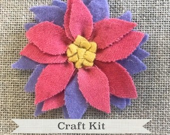 DIY CRAFT KIT - Complete Pink and Purple Flower Pin Kit - 100% Wool Rug Hooking Kit with Hoop and Hook - Free Shipping
