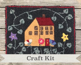 DIY KIT - Yellow Cottage and Posies Complete 14 by 18 inch Primitive Rug Hooking Kit on Choice of Foundation - Free Shipping in USA