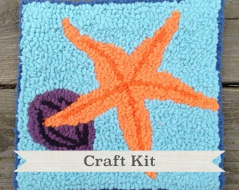 CLEARANCE SALE - DIY Fiber Art Kit - The Starfish Complete 8 by 8 inch Beginner Rug Hooking Kit on Your Choice of Foundation