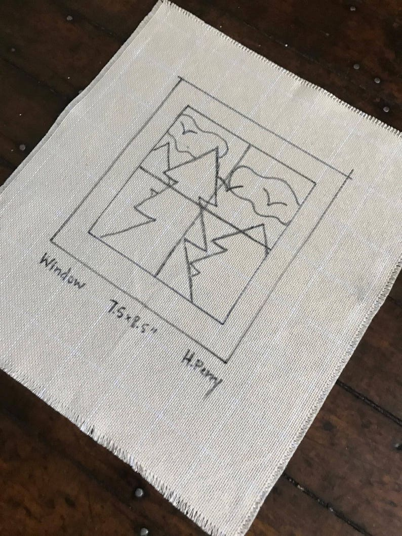 Original Hand Drawn 7.5 by 8.5 inch Rug Hooking Pattern on Your Choice of Foundation Window View
