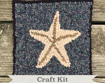 "DIY KIT - Beginner Starfish by Guest Designer Sharon Perry Complete 8 x 8"" Primitive Beginner Rug Hooking Kit - Free Shipping in USA"