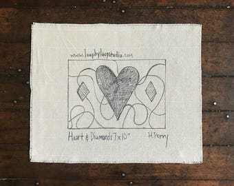 Heart and Diamonds  - Original Hand Drawn 7 by 10 inch Rug Hooking Pattern on Your Choice of Foundation