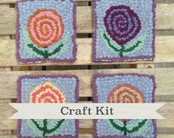 DIY KIT - Pretty Posies Complete Rug Hooking Kit - Make Your Own Coaster Set - Free Shipping in USA
