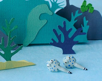 Stingray post earrings - Ocean creatures - Blue and purple dots - Fun jewelry for women