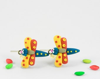 Dragonfly dangle earrings - whimsical insect jewelry - Spring jewellery - Fun gift for women - Mothers day - red yellow green