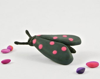 Neon Moth brooch  - Handmade insect jewelry - Gift for nature lover - Moth pin
