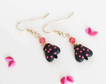 Neon Moth Dangle Earrings - Fun Spring jewelry - Pink and black - Gift for nature lover's women
