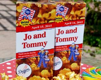 Baseball Wedding Favor Cracker Jack Boxes | Baseball Party | Baseball Wedding | Circus Theme Favor | Cracker Jacks | Personalized Wedding