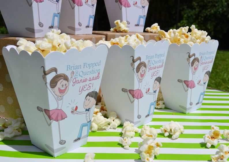 Popcorn Box Favors Popcorn Bar Personalized Favor Engagement Party Kneeling Fiance Engagement Favor Popped the Question Popcorn Boxes
