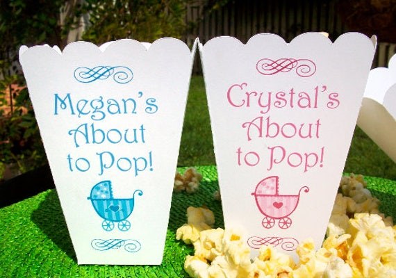 About To Pop Baby Shower Popcorn Boxes Personalized Baby Boy Etsy