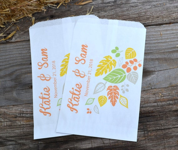 Rustic Fall Wedding Bags Autumn Wedding Bags Fall Leaves Personalized Brown Paper Wedding Favor Bags Fall Wedding Candy Bar Bags